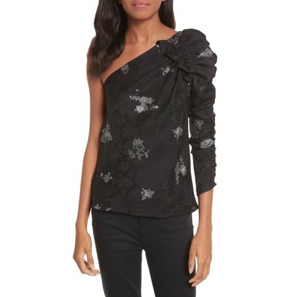 21a0078b3fd Rebecca Taylor Tops | Oneshoulder Glitter Silk Blouse | Poshmark